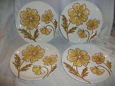 "4 Vintage Jamestown China Ironstone Yellow Gold Flower Dinner Plates 10 1/4"""