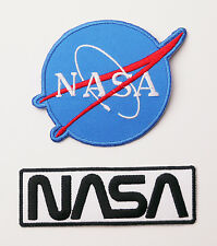 NASA Crew US Space Agency Logo Iron-On Embroidered Twin Patch Set - FREE POSTAGE