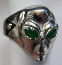 ALIEN HEAD GREEN EYES STAINLESS STEEL RING size 11 silver metal S-504 unisex UFO