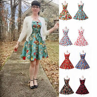 Vintage Retro Style 50's Swing Pinup Floral Prom Party Evening Dress