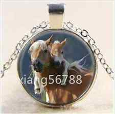 New Mother and Baby Horse Cabochon Glass Tibet Silver Chain Pendant Necklace