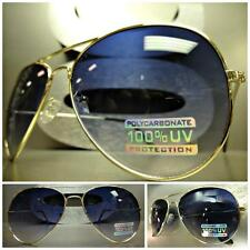 CLASSIC VINTAGE RETRO AVIATOR Style SUN GLASSES Large Gold Frame Gradient Lens