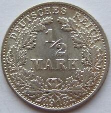 TOP! 1/2 Mark 1913 F in BANKFRISCH / STEMPELGLANZ SELTEN !!!