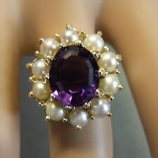 9 ct GOLD second hand amethyst & pearl ring
