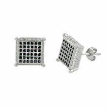 Sterling Silver Micropave Stud Earrings Black and White Cubic Zirconia CZ 10x10