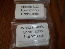109 US and World Historical Landmarks Laminated Flashcards.  Geography, History.