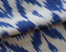 "Hand-Woven, Ikat, Drapery Fabric. Artisan, Blue, India, Andhra Cotton 44"" wide"