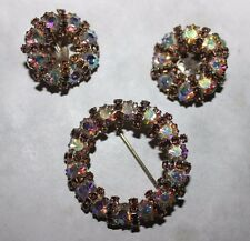 WEISS signed PIN AND EARRING SET- STUNNING-PIN UNSIGNED!!!!!!!!!!!!!