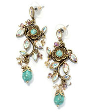 NEW SWEET ROMANCE STUNNING ART DECO STYLE TURQUOISE DEVINE PIERCED EARRINGS