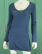 Anthropologie Women's Top Scoop Neck Tunic Knit Blue Kanga Pocket