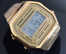 Men's Casio A168 illuminator Retro Gold Tone Digital Alarm Watch LCD Chronograph
