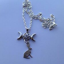 "Crescent Moons Pentegram Pentagram Hare Silver Plated 24"" Necklace Wicca Pagan"