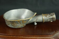 "Superb Antique chinese pewter silk iron 5"", w. brass, minor damage [Y8-W6-A9-E9]"