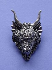 Chunky Dragon Head Pin Badge - Lead Free Pewter - Made in UK