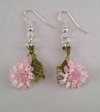 Handmade Needle Lace Crochet Dangle Earrings Light  Pink Flowers w Green Leaves
