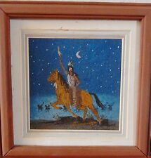 "Vintage Native American Navajo Sand Painting ""NIGHT RAIDED"" Tom Norman 9.5""x9.5"""