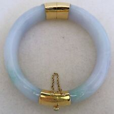"6.9"" Chinese 14K Gold Green & White Carved JADEITE Jade Bangle Bracelet (62.7g)"