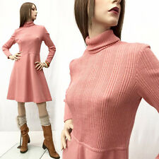 SALE Vintage 60s Simple Mod Dress Salmon Pink Ribbed Wool x Long Sleeve Mini M/L