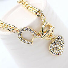 Women Rhinestone Heart Shape Pendant Curb Chain Necklace Jewelry Distinctive