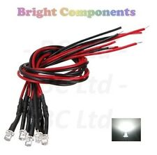 5 x Pre-Wired White LED 3mm Flat Top : 9V ~ 12V : 1st CLASS POST