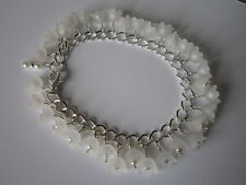 White Lucite Flower Charm Bracelet - Silver Plated - Snowdrops