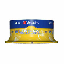 25 Verbatim 4.7GB Speed 120Min 4x DVD+RW Rewritable Disk Cased 1x-4x Ref 43489