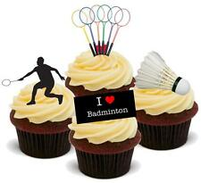 NOVELTY BADMINTON MIX 12 STAND UP Edible Cake Toppers 4th Racquet Shuttlecock