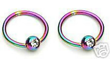 "Pair 16g 3/8"" Diameter Rainbow Titanium Captive ring W/ Clear C.Z. Lip, Eyebrow"