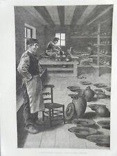 GRAVURE SUR BOIS 1883 LE POTIER DE TERNEUZEN PAYS BAS