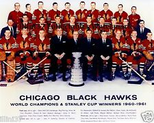 1960-1961 CHICAGO BLACKHAWKS STANLEY CUP CHAMPIONS 8x10 TEAM PHOTO HULL MIKITA