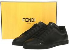 NEW FENDI MEN'S CURRENT BLACK LEATHER  ANIMOTICON FACES SNEAKERS CASUAL SHOES 8