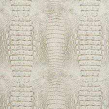 G032 White And Gray, Crocodile Faux Leather Upholstery Vinyl By The Yard