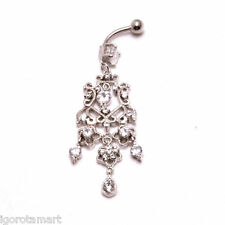 925 Silver Tear Drop 5cm Crystal Flower Design Banana Belly Navel Bar Body Jewel