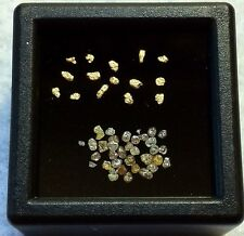 ALASKAN GOLD NUGGETS WITH PREMIUM MIXED DIAMOND LOT IN SMALL GEM BOX.   L39