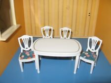 REDUCED! RARE LUNDBY DOLLHOUSE VINTAGE 5-PIECE DINING-ROOM SET—RARE BLUE EDITION