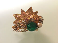 Vintage Signed MIRIAM HASKELL Gold Green Pearl Rhinestone Glass Leaf BROOCH PIN