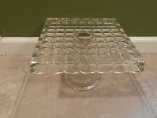 Vintage Clear Glass Square Pedestal Cake Stand with Rum Well Indiana Glass?