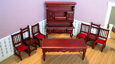 Dollhouse Miniature  Furniture ~ Eight PC.  Dining Room  Set in Mahogany ~