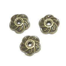 M940p Antiqued Bronze 9mm Round Swirl Design Flower Bead Caps 24/pkg