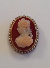 Finest Quality Antique Victorian 15ct Gold Carved Hardstone Agate Cameo Brooch