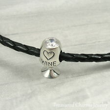 925 Sterling Silver White Wine Glass Charm - Large Hole Bead European Bracelet