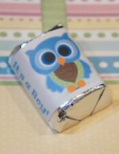 30 Baby Shower Its A Boy Blue Owl Hershey Candy Nugget Wrappers Stickers