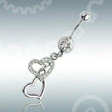 1pcs Heart Rhinestone Dangle Barbell Belly Button Navel Ring Bar Body Piercing