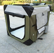 PUPPY POWER PORTABLE PET HOME, COLLAPSIBLE DOG SOFT CRATE - LARGE 91CM - KHAKI