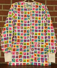 Peaches Long Sleeve Scrub Top Buttons Small Flowers Hearts