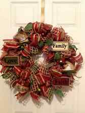 Holiday Christmas Family, Love, Faith, Deco Mesh, Burlap, Winter, Snowman wreath