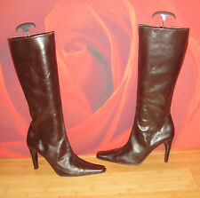 Superb  MIGLIORINI  Italian brown leather  pointy  boots UK 6.5 EU 40 *14*