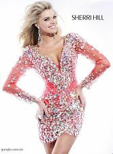 2946 Sherri Hill Coral Long Sleeve Party Evening Formal Dress Prom Size USA 0