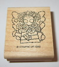 Angel Watering Can Rubber Stamp Stampin' Up! Retired Wings Girl Buttons Quilted