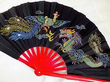 PHOENIX & DRAGON BLACK TAI CHI TAIJI KUNG FU CHINESE JAPANESE BAMBOO HAND FAN A2